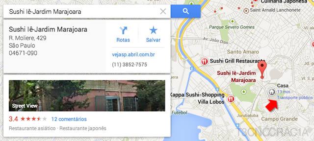 Novo Google Maps Sushi Details