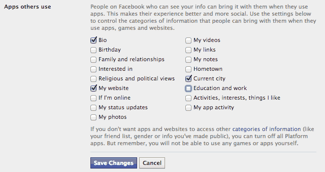 Configuração de aplicativos no Facebook